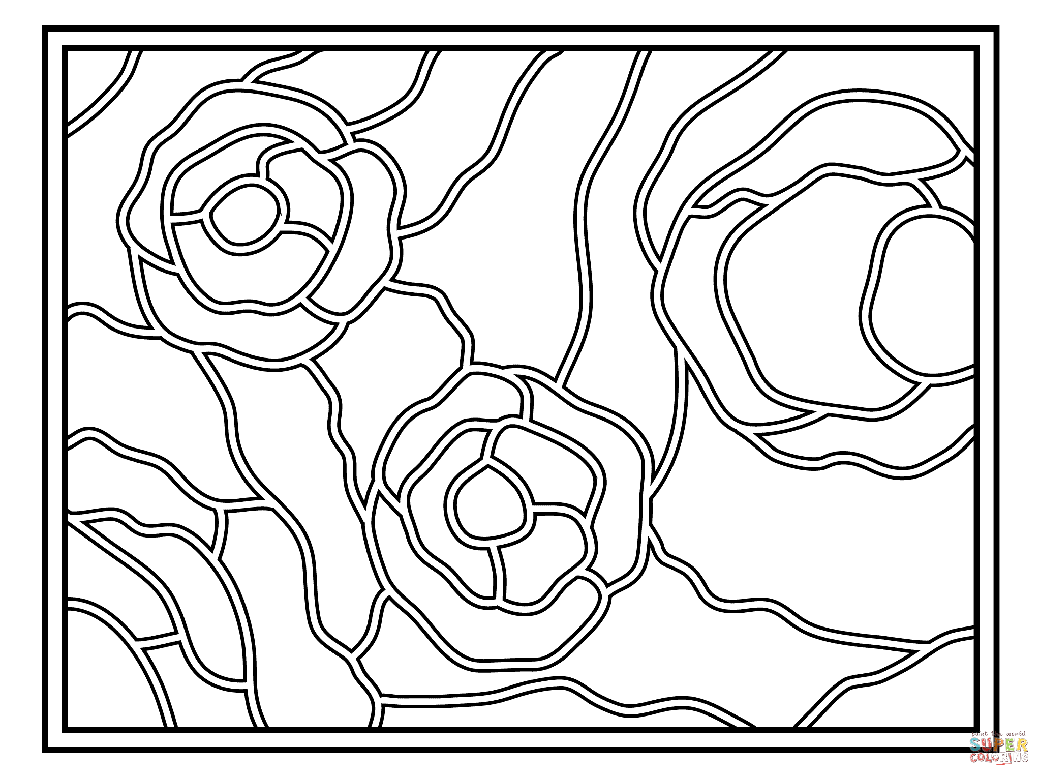 Starry Night Stained Glass Coloring Page