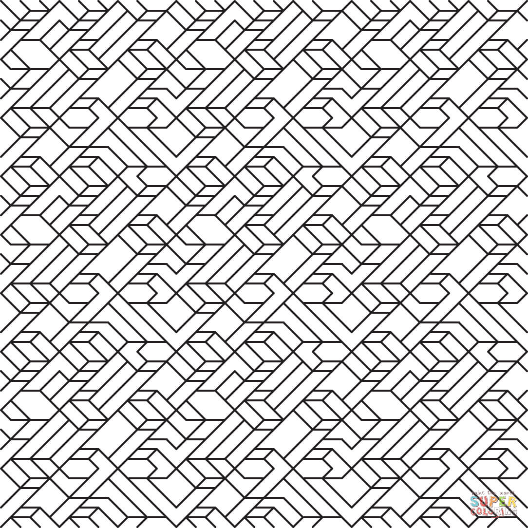 V1 Line Tiled Pattern Coloring Page