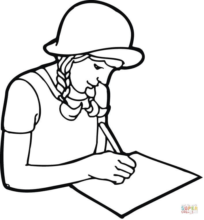 college girl caricature coloring page free printable coloring pages