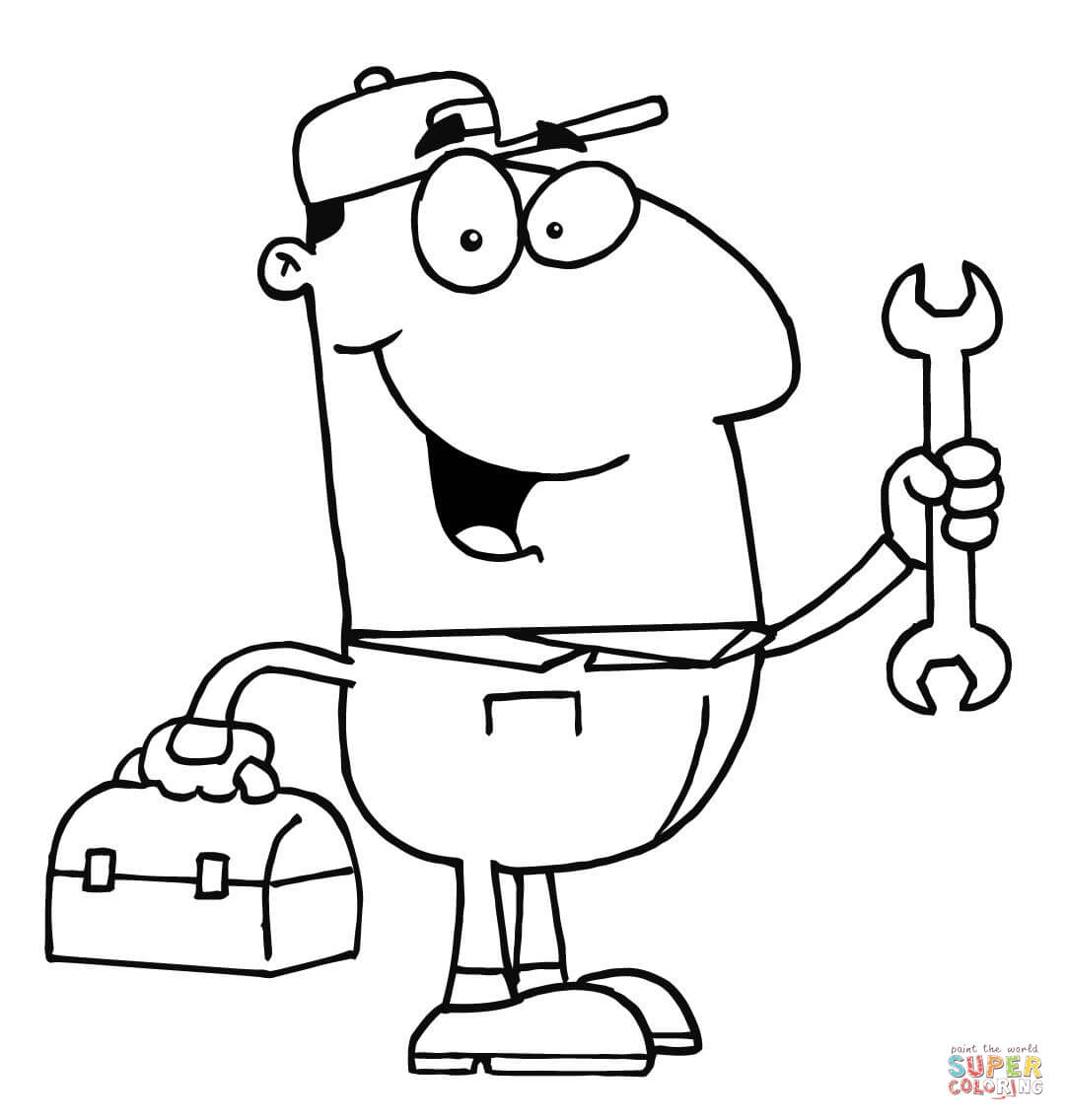 A Repair Man With A Toolbox And A Wrench Coloring Page