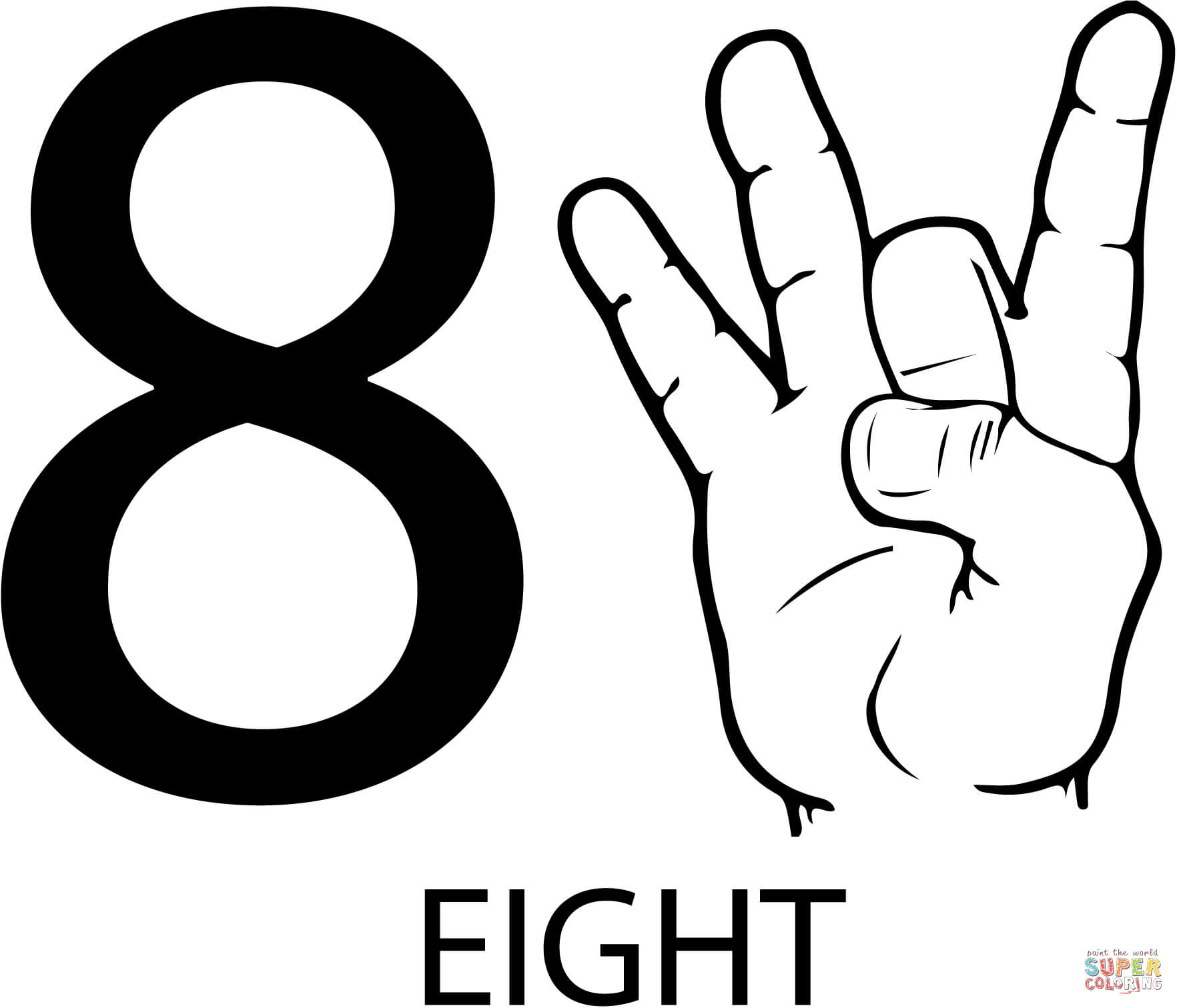 Asl Number Eight Coloring Page