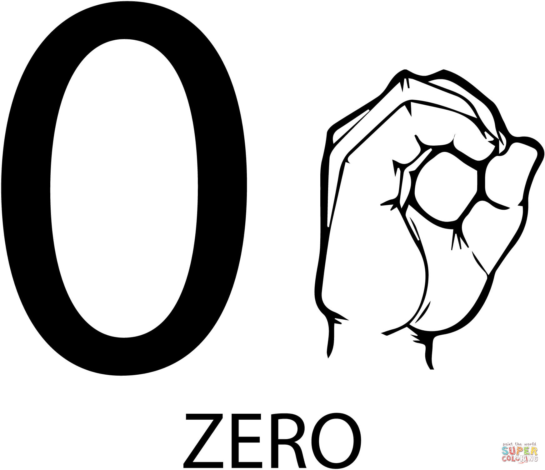 Asl Number Zero Coloring Page