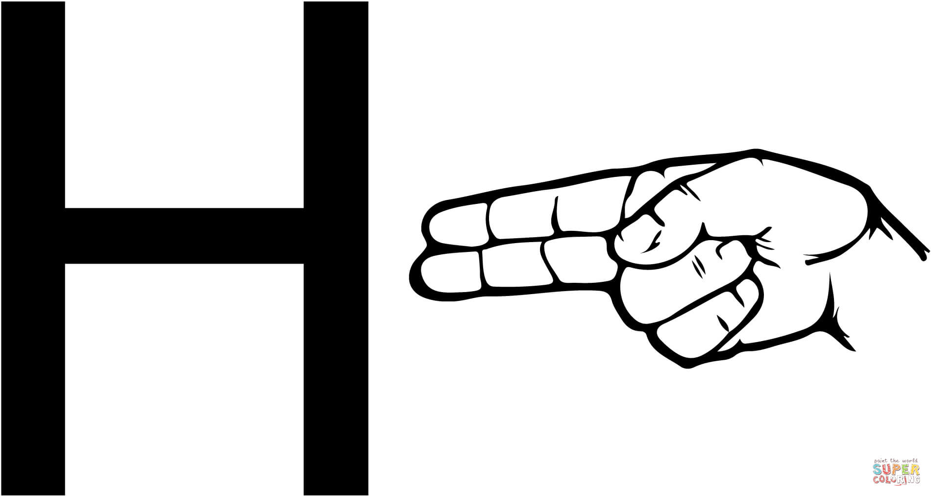 Asl Sign Language Letter H Coloring Page