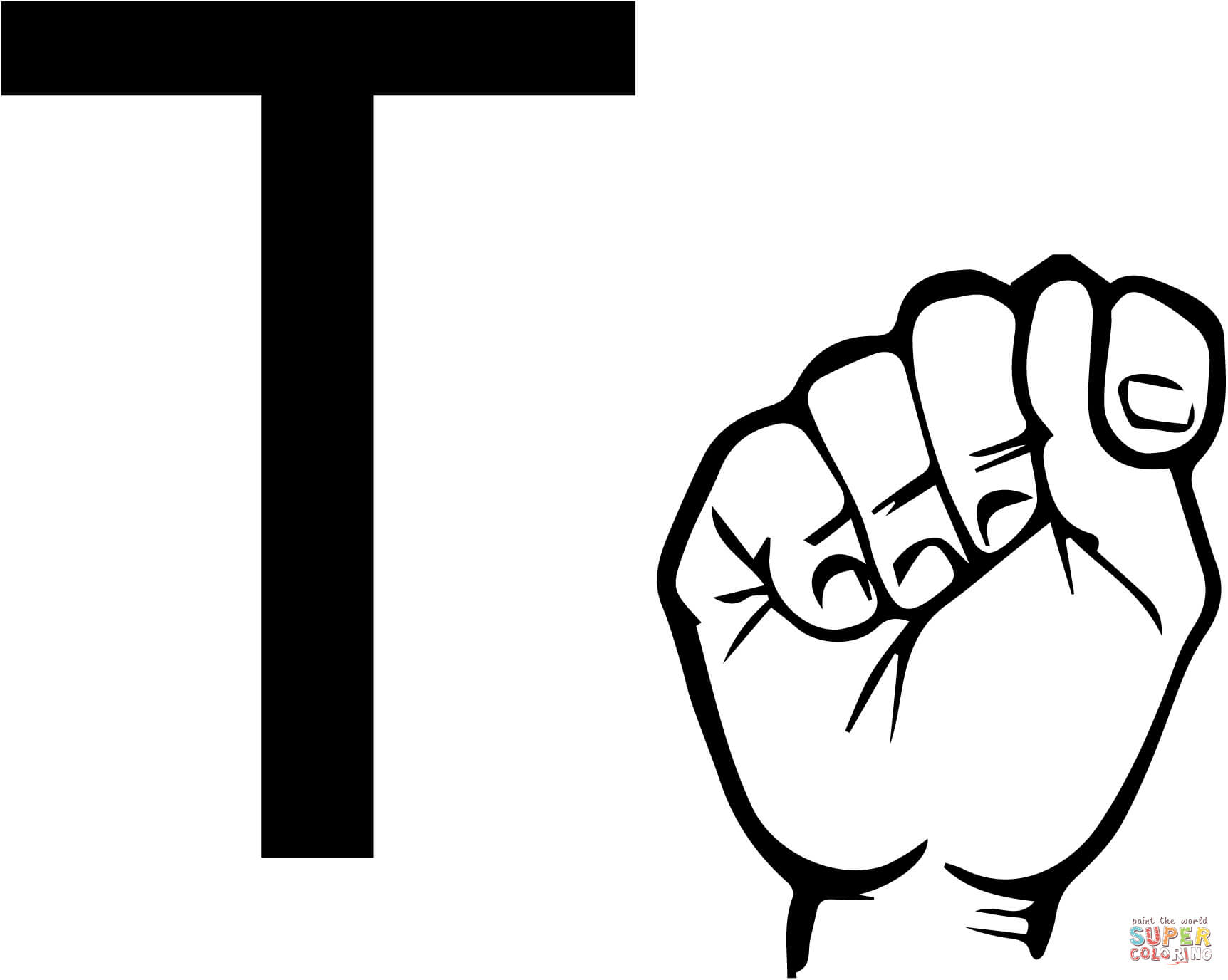 Asl Sign Language Letter T Coloring Page