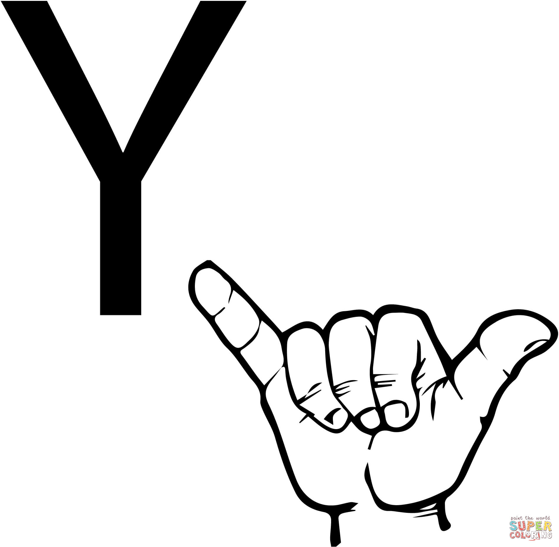 Asl Sign Language Letter Y Coloring Page