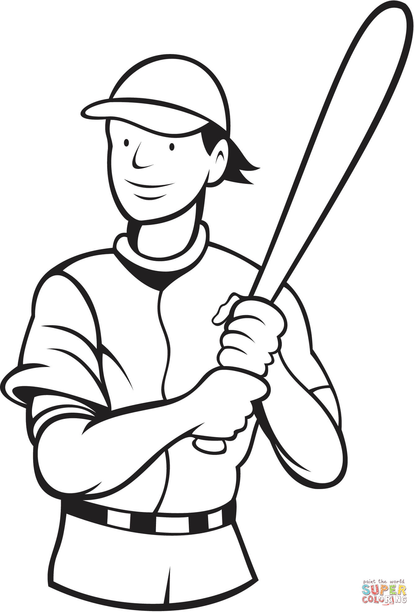 Baseball Batting Stance Coloring Page