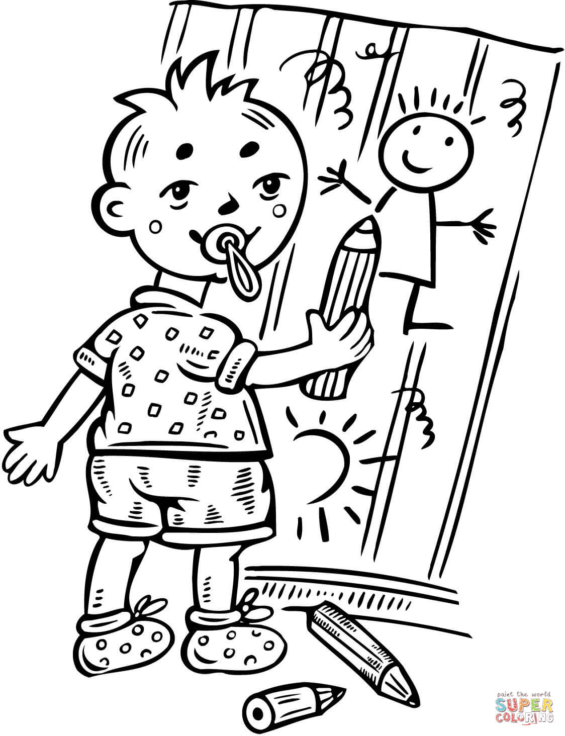 Boy Drawing Pictures On Wall Coloring Page