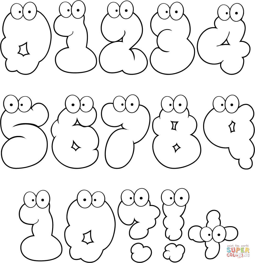 Cartoon Numbers Set 0 10 Coloring Page