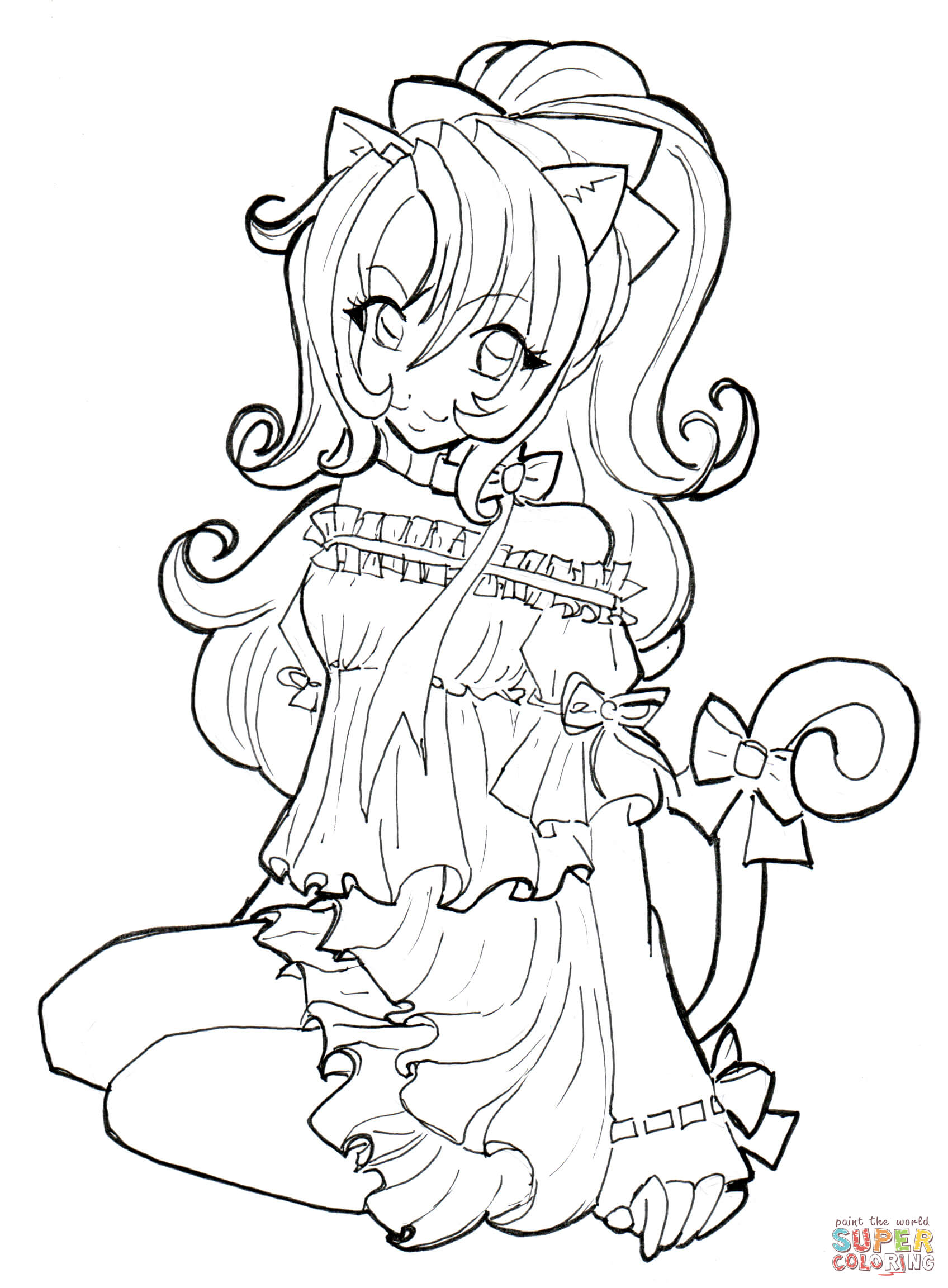 Coloring pages ultraman - Cat Girl Coloring Page Resize 1696 2c2305 Anime Cat Girl Coloring Page Color