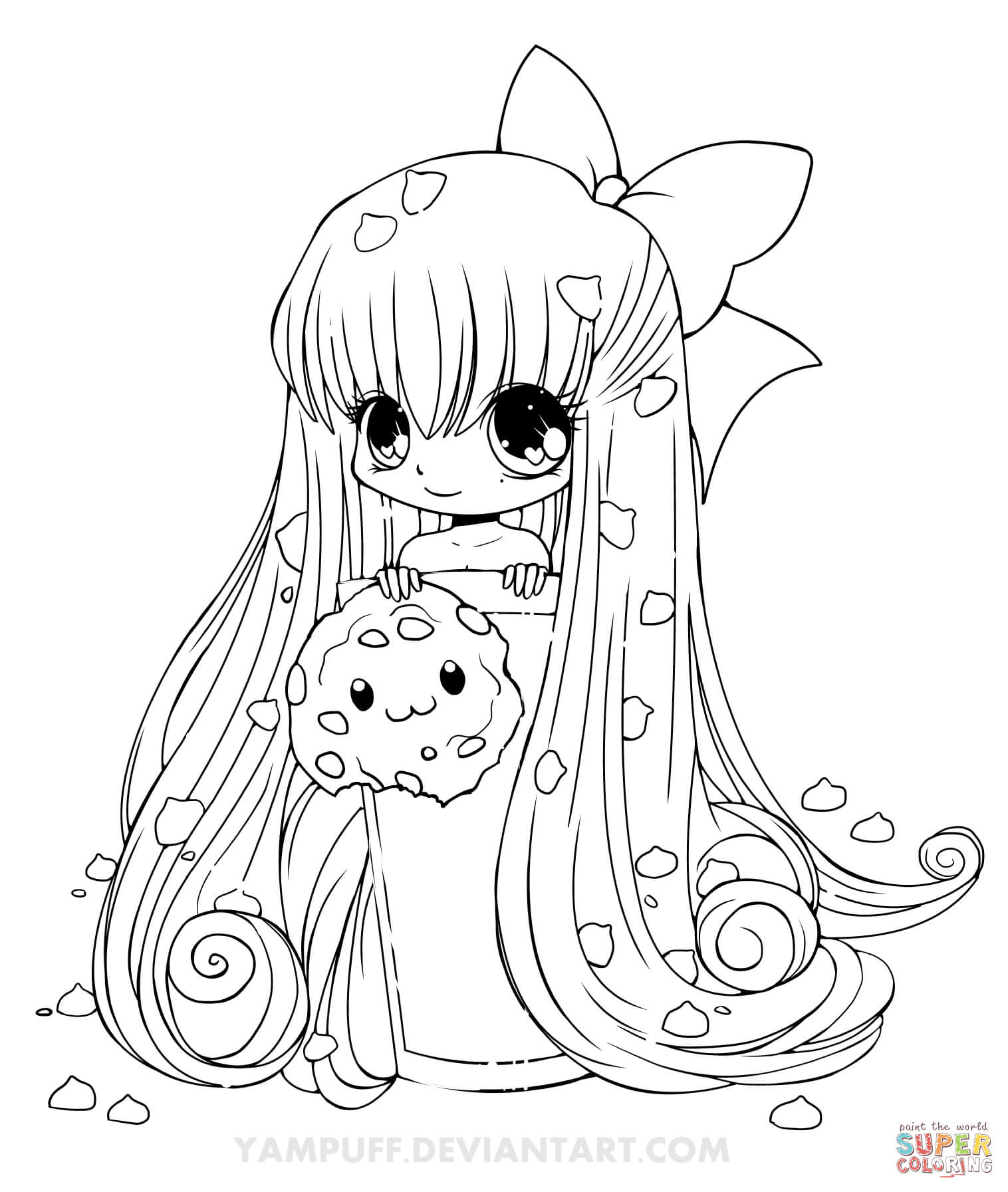 chibi cookie girl coloring page free printable coloring pages