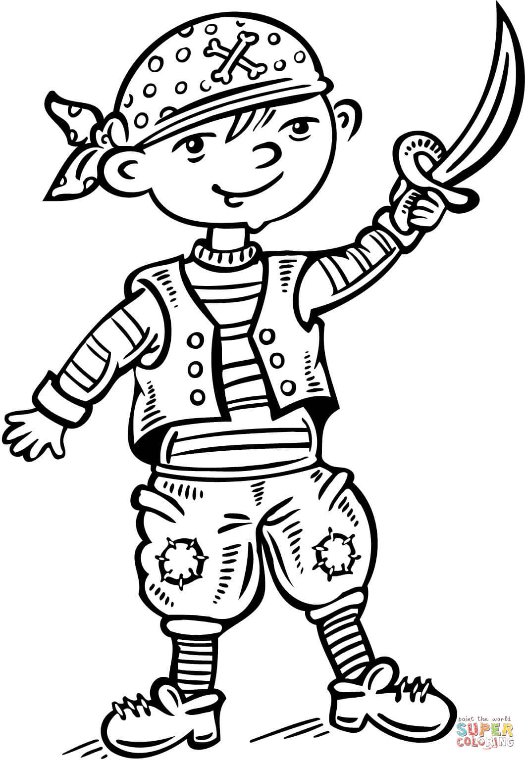 Child Dressed Up Like A Pirate Coloring Page