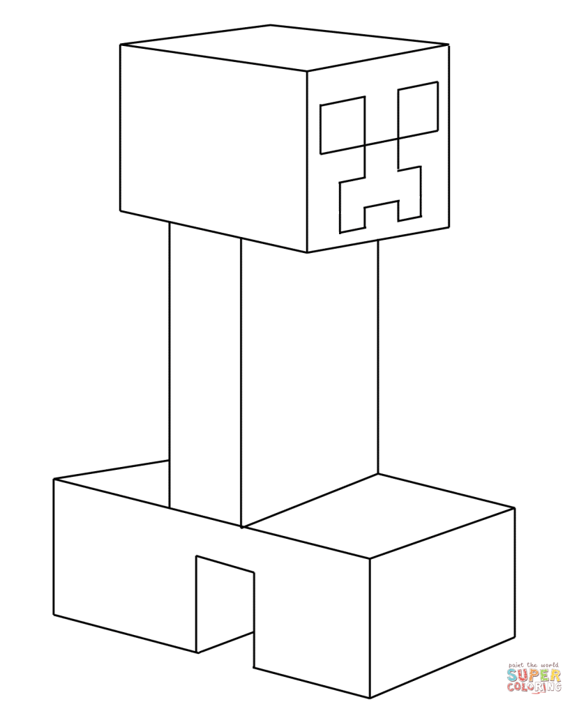 Creeper From Minecraft Coloring Page Free Printable Pages