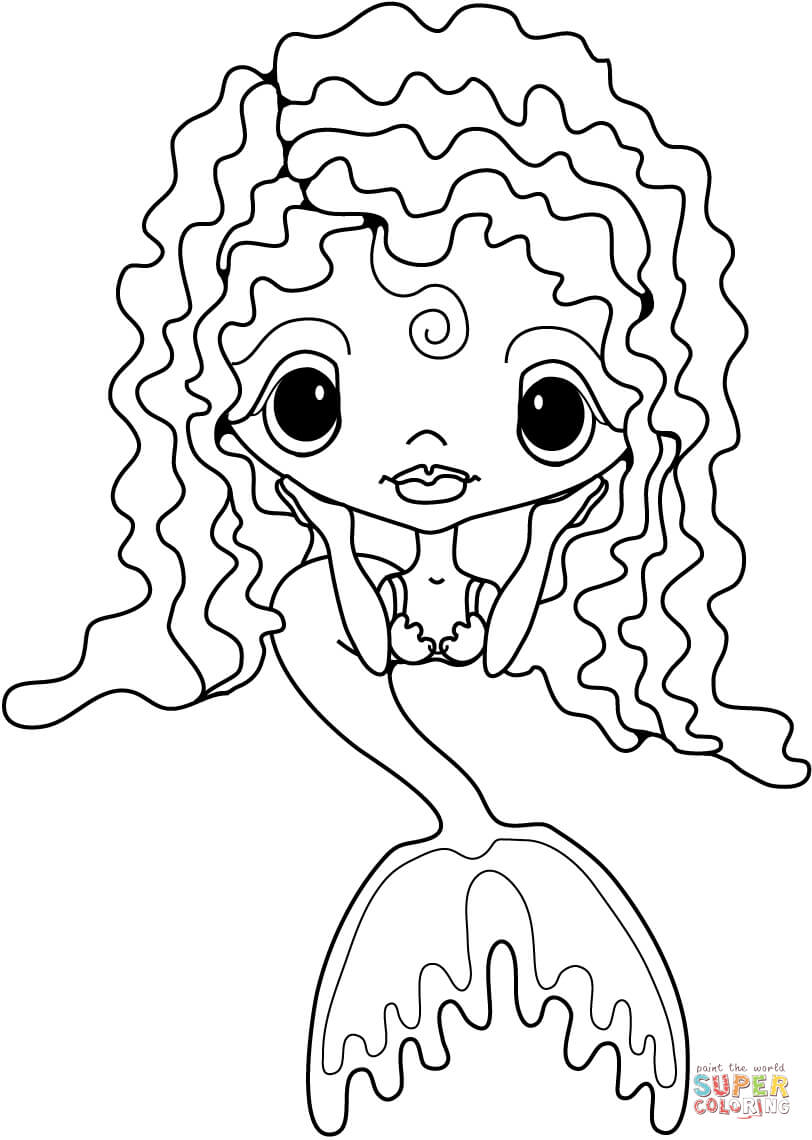cute little mermaid coloring page free printable coloring pages