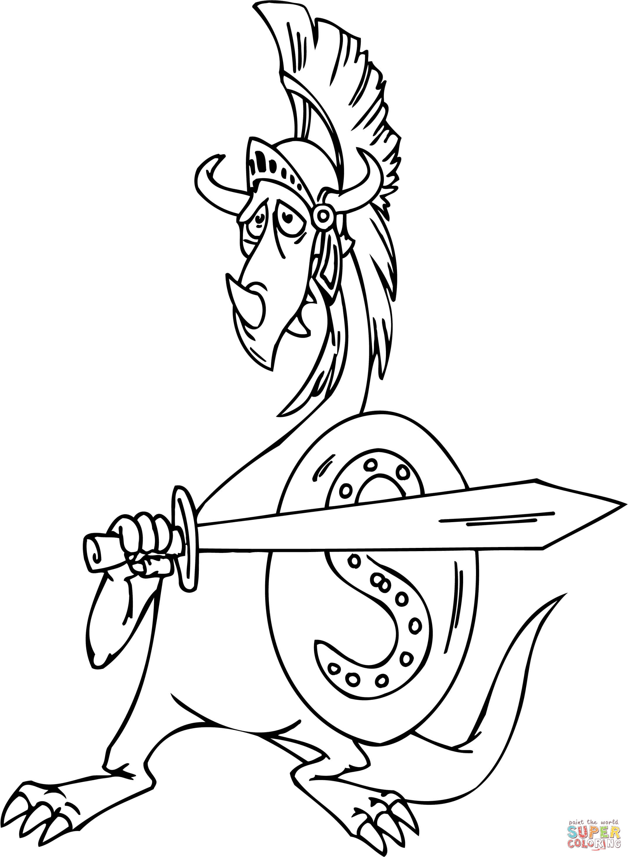 Dragon As A Gladiator Coloring Page Free Printable