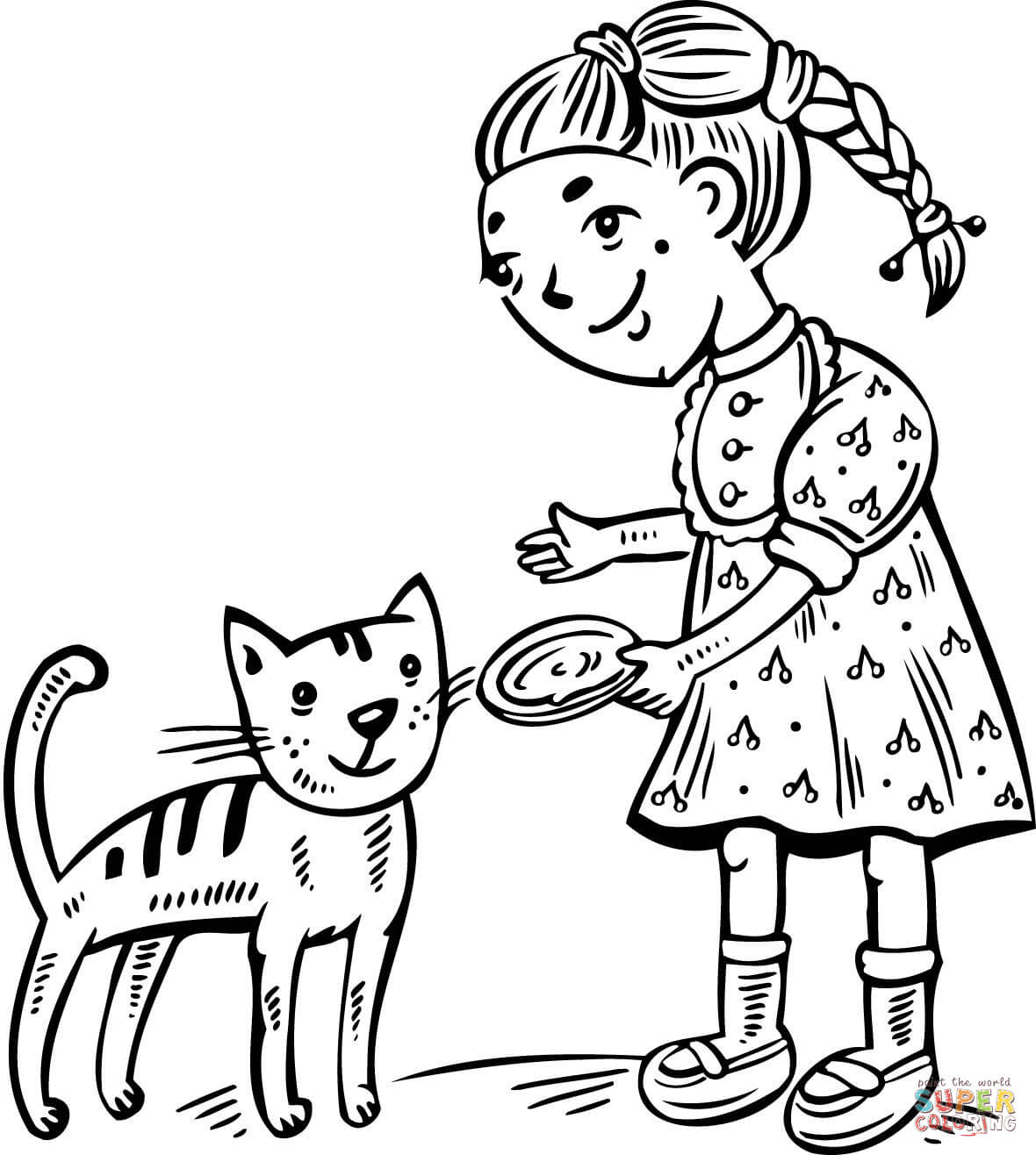 Girl Feeding Her Cat Coloring Page