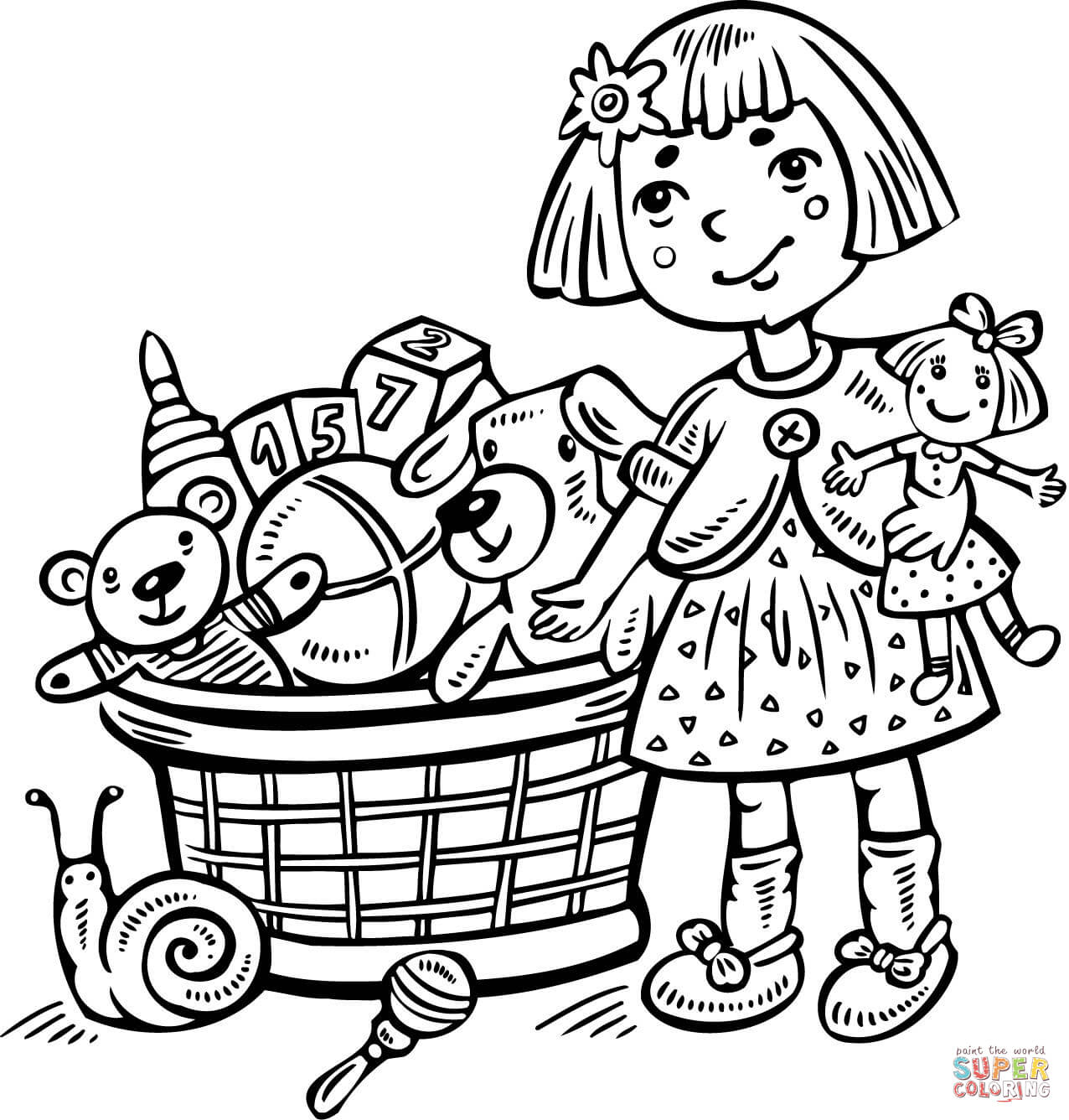 Girl With A Toy Box Coloring Page