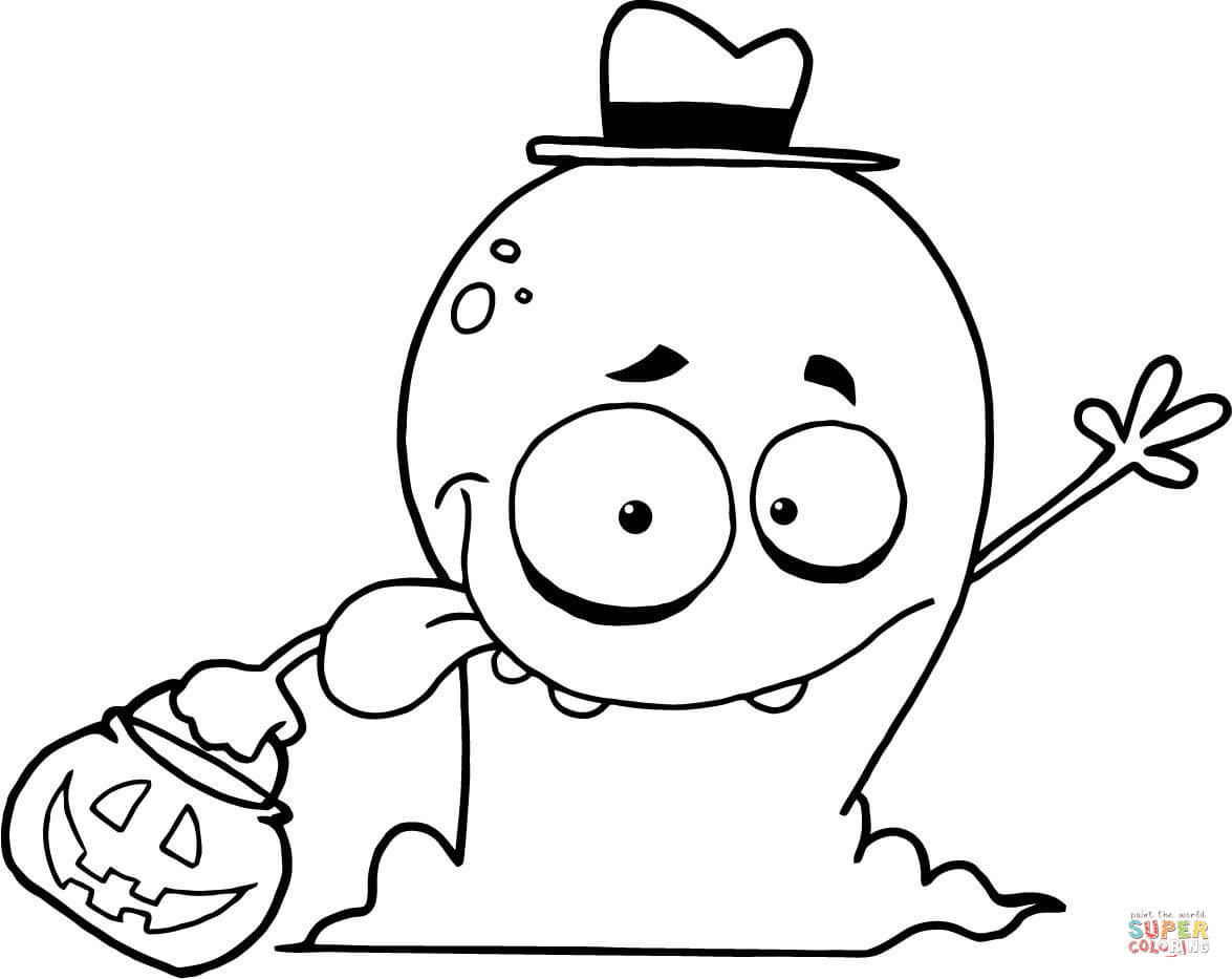 Goofy Ghost Goes Trick Or Treating Coloring Page