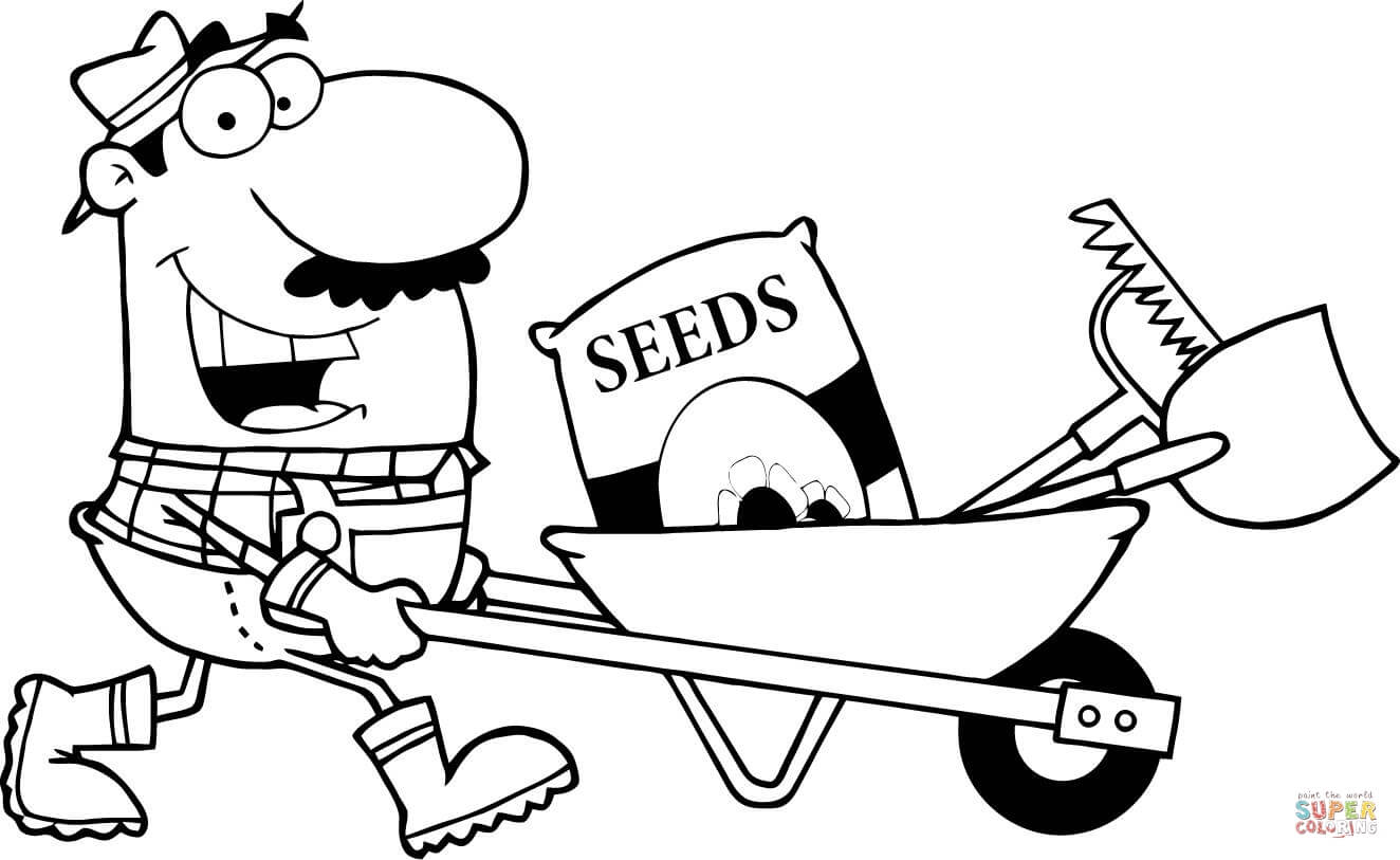 Happy Gardener Drives A Barrow With Tools Coloring Page