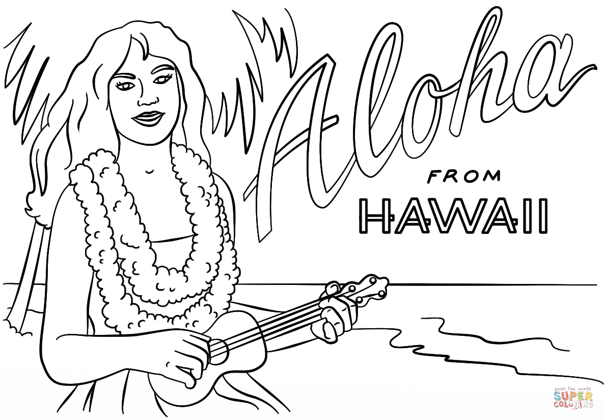 Hawaiian Girl With Lei And Ukulele Coloring Page