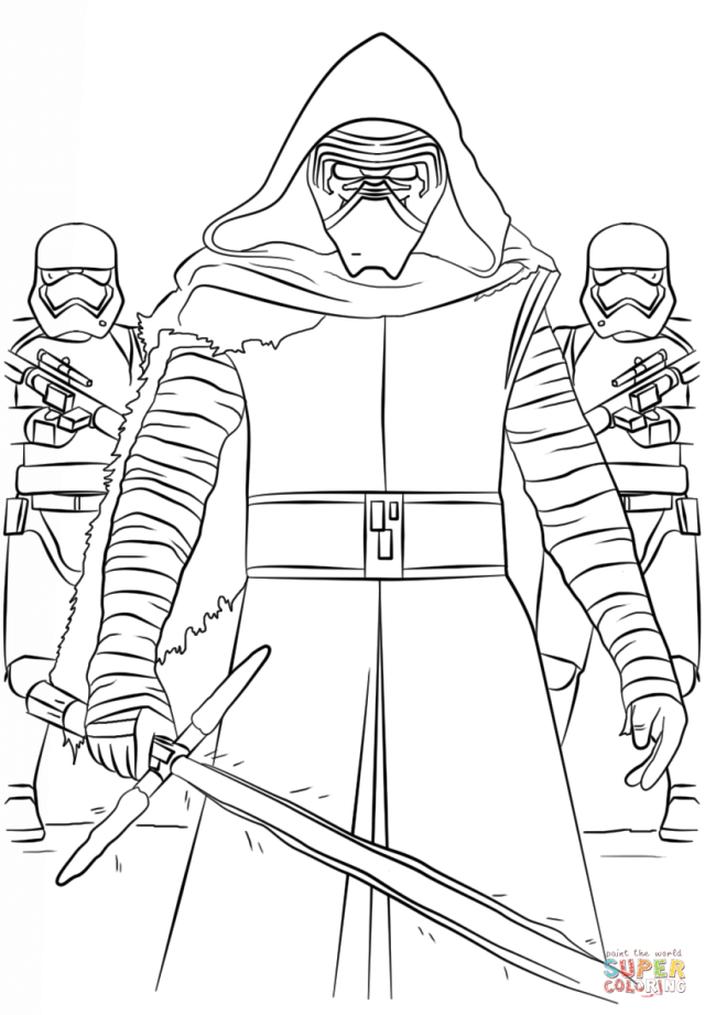 Kylo Ren and the First Order Stormtroopers coloring page  Free