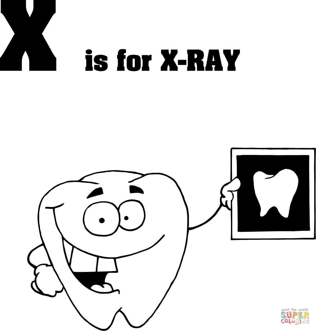 Letter X Is For X Ray Coloring Page