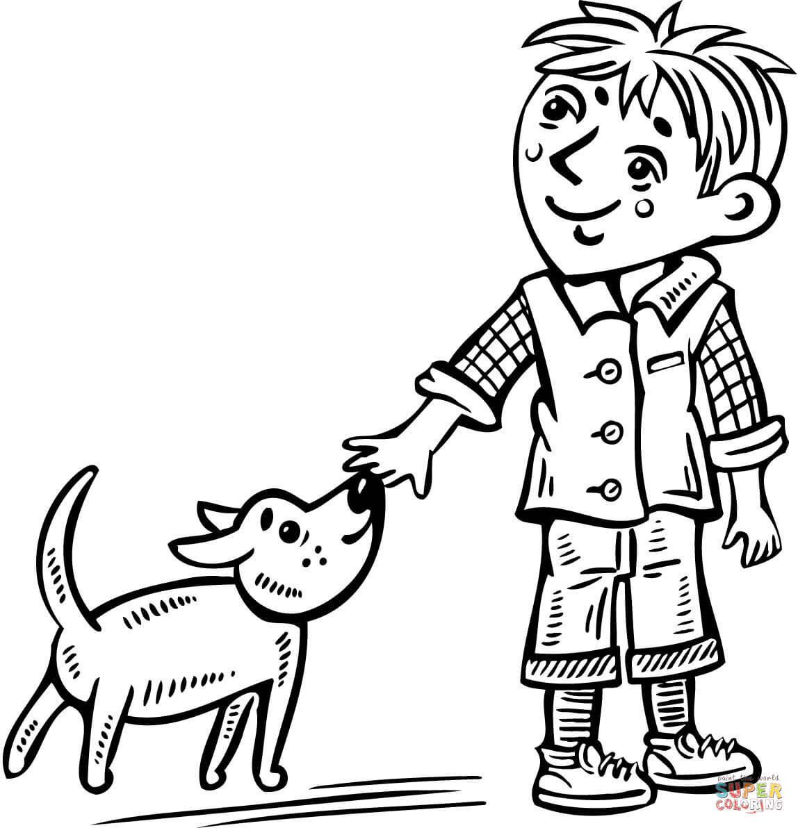 Little Boy Walking His Dog Coloring Page