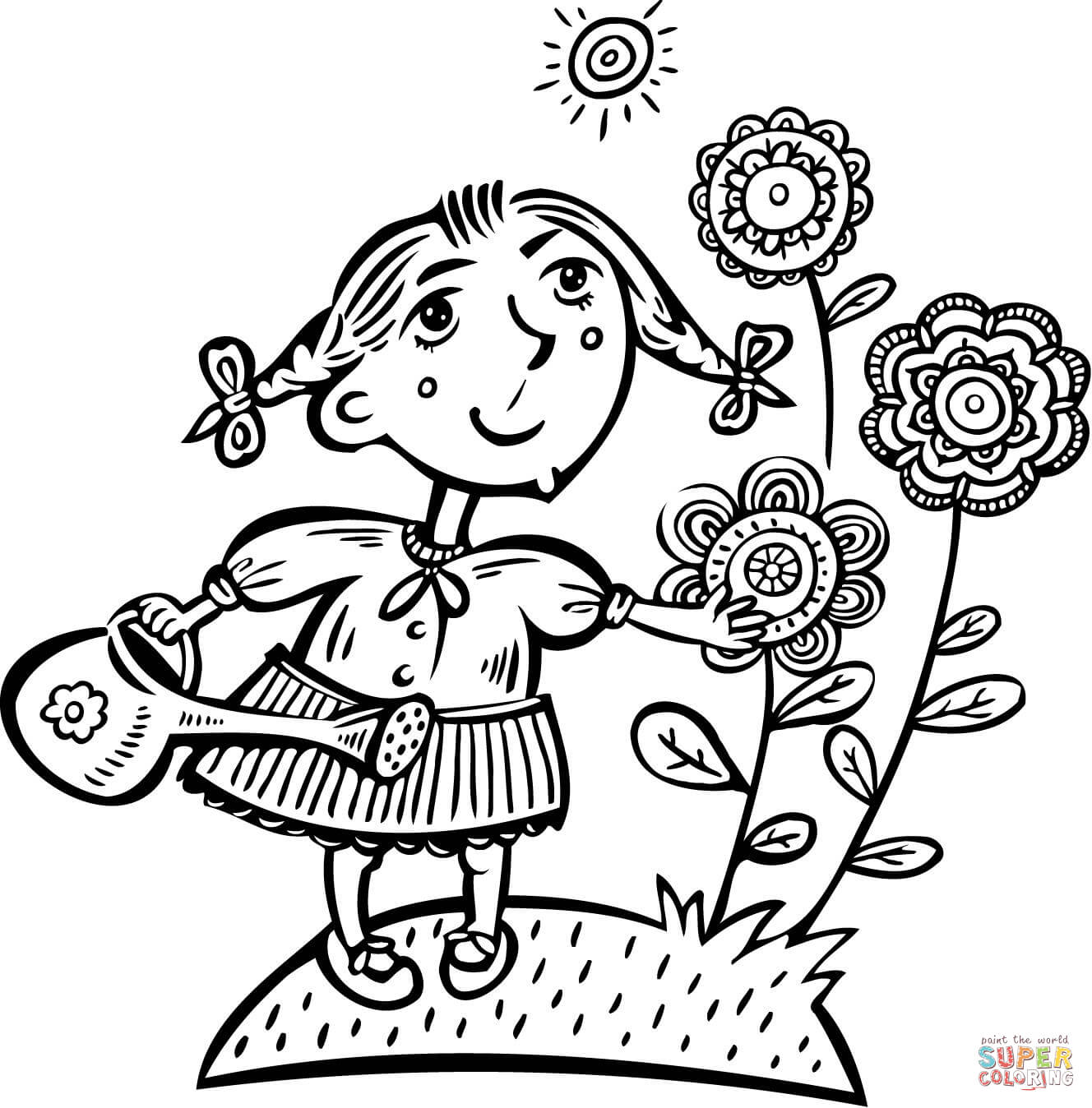 Little Girl Watering Her Flowers Coloring Page