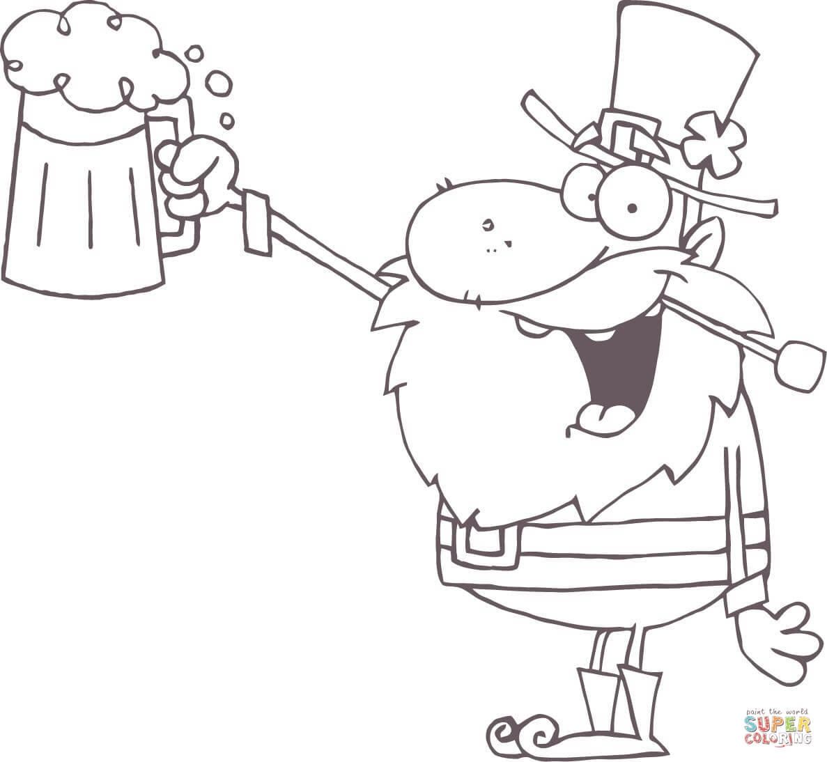 Lucky Leprechaun Toasting With A Mug Of Beer Coloring Page