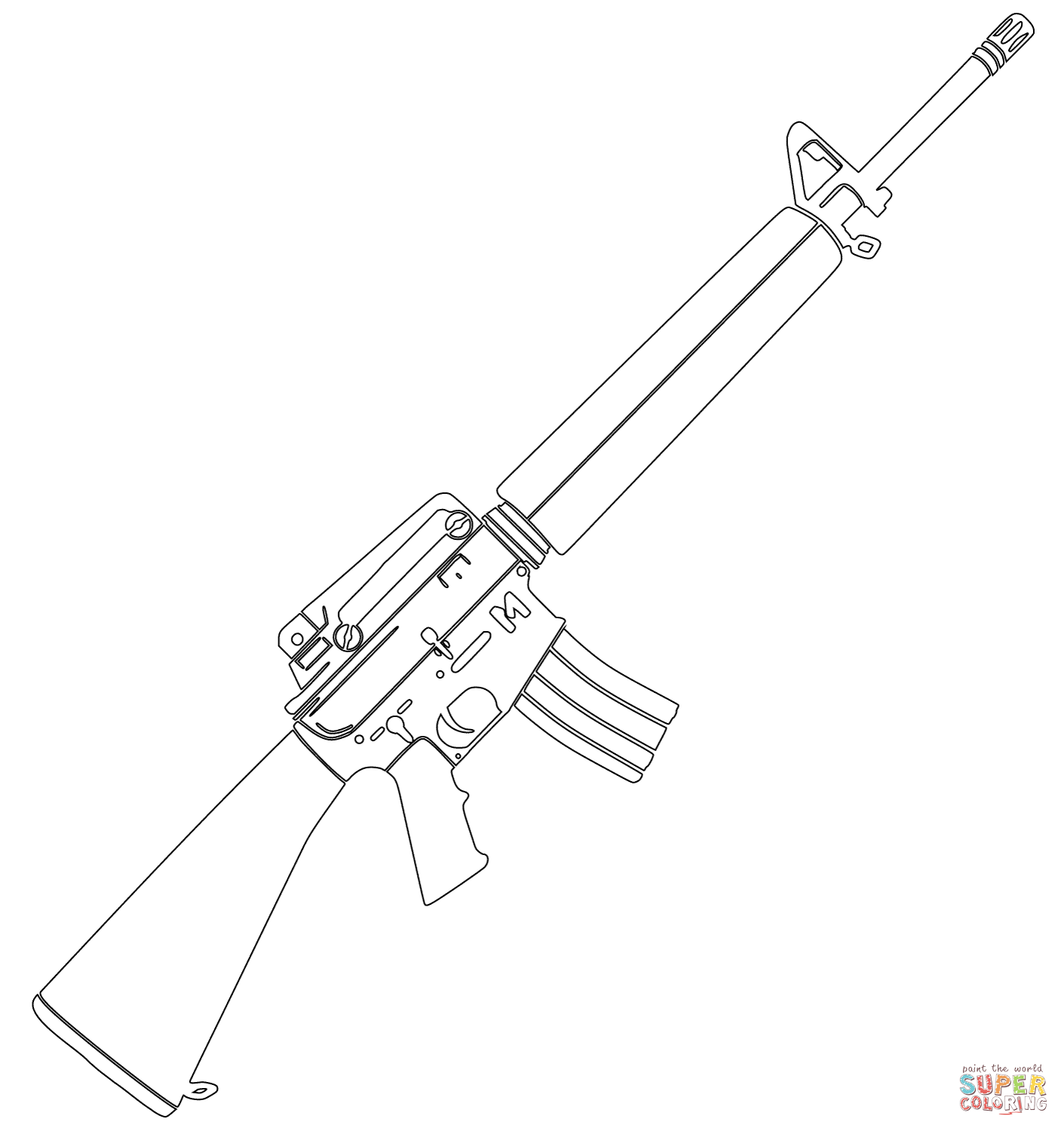 m16 coloring page free printable coloring pages