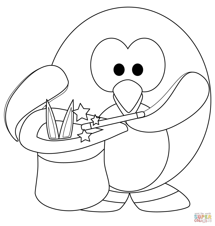 Magic Penguine Coloring Page