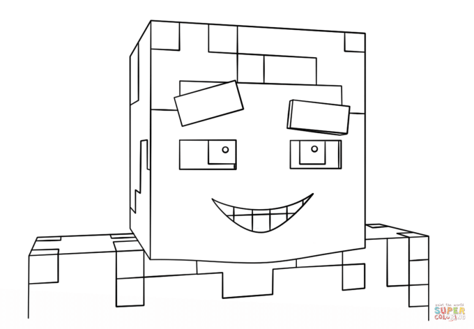 Minecraft Smiling Steve Coloring Page Free Printable Pages