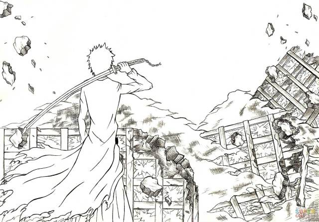 Hichigo from Manga Bleach coloring page  Free Printable Coloring