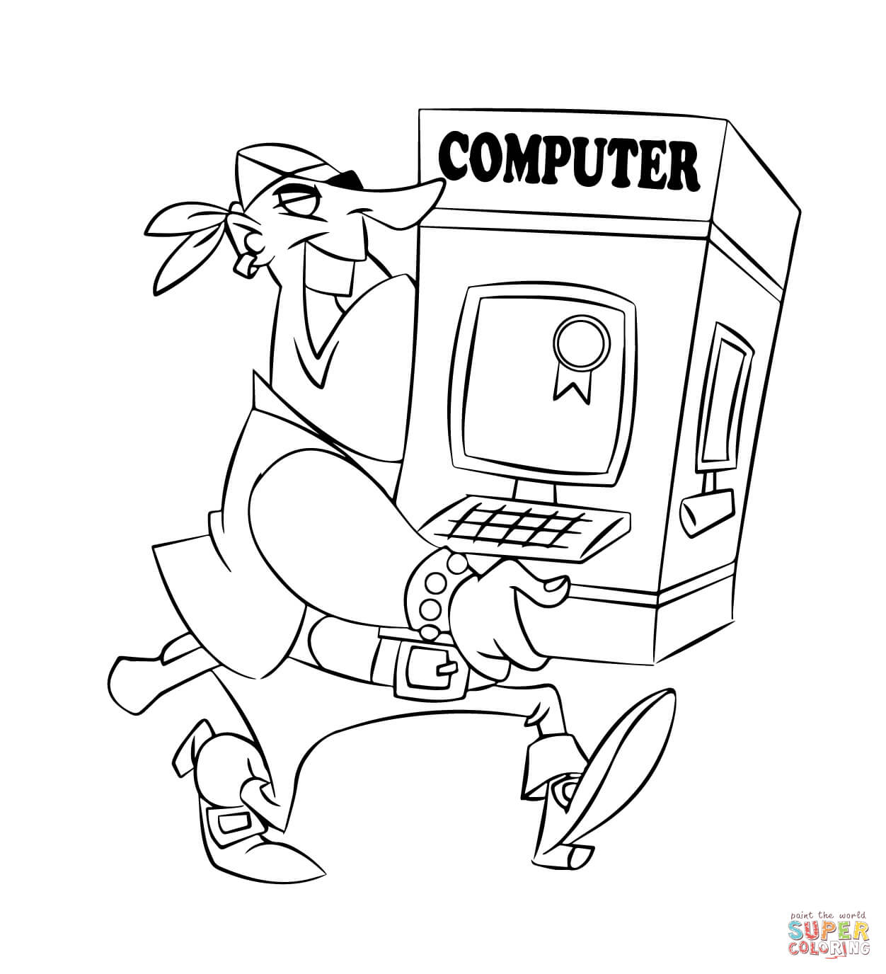 Pirate Carrying A Computer Coloring Page