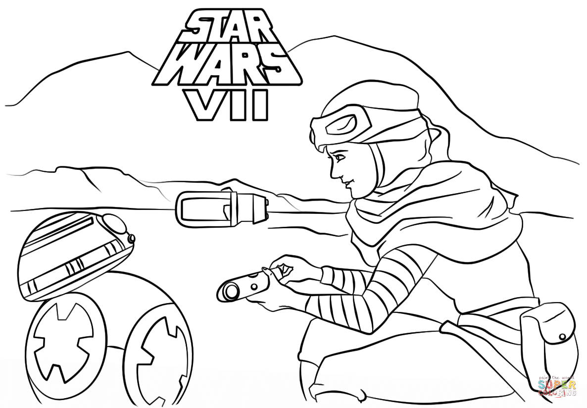 Rey And Bb 8 Coloring Page Free Printable Coloring Pages