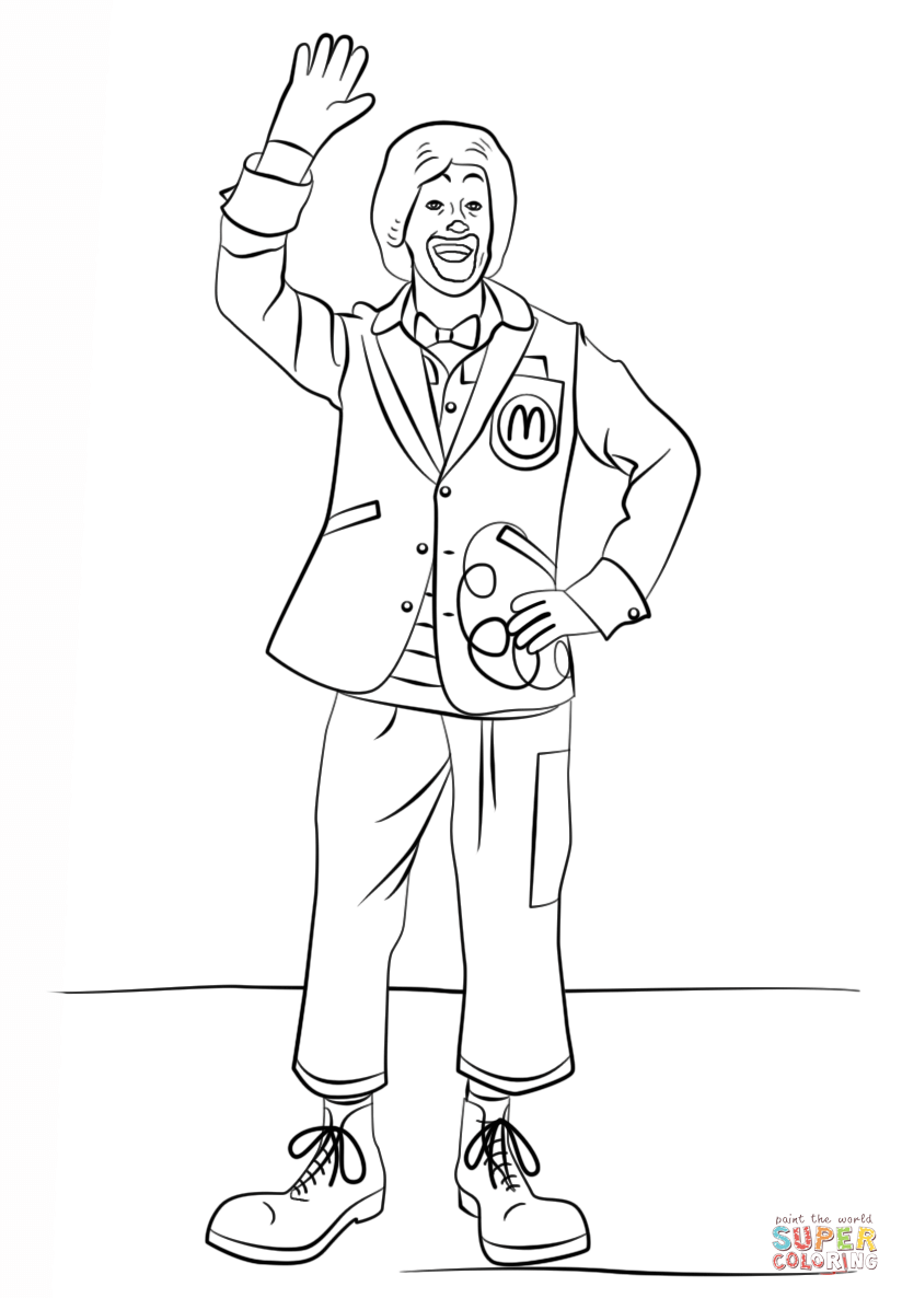 ronald mcdonald coloring page free printable coloring pages