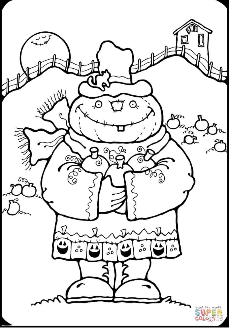 pumpkin scarecrow coloring page  free printable coloring
