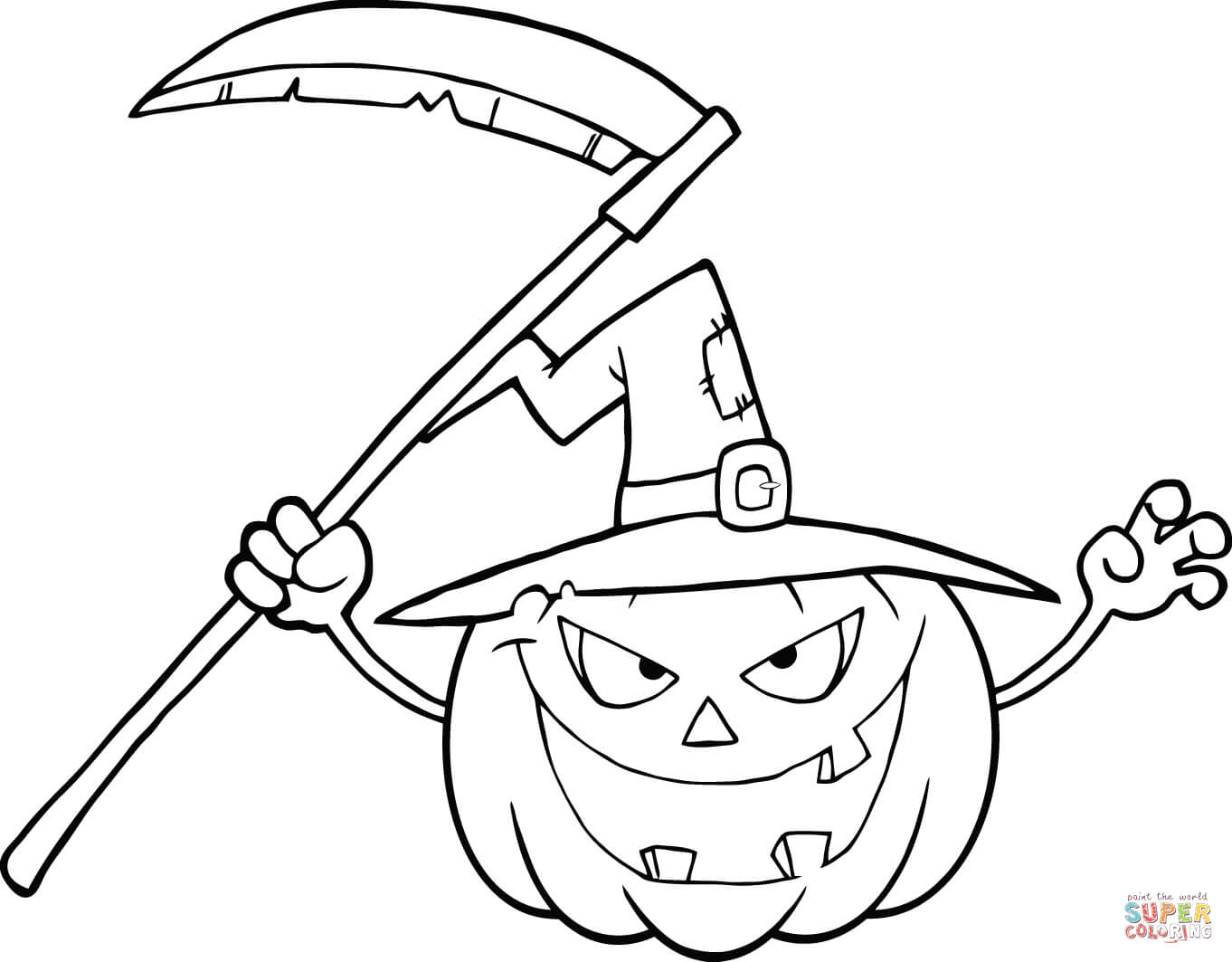 Scary Halloween Pumpkin With A Witch Hat And Scythe