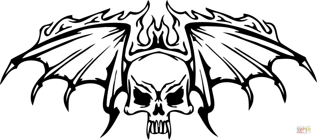 skull with wings in flames coloring page free printable coloring