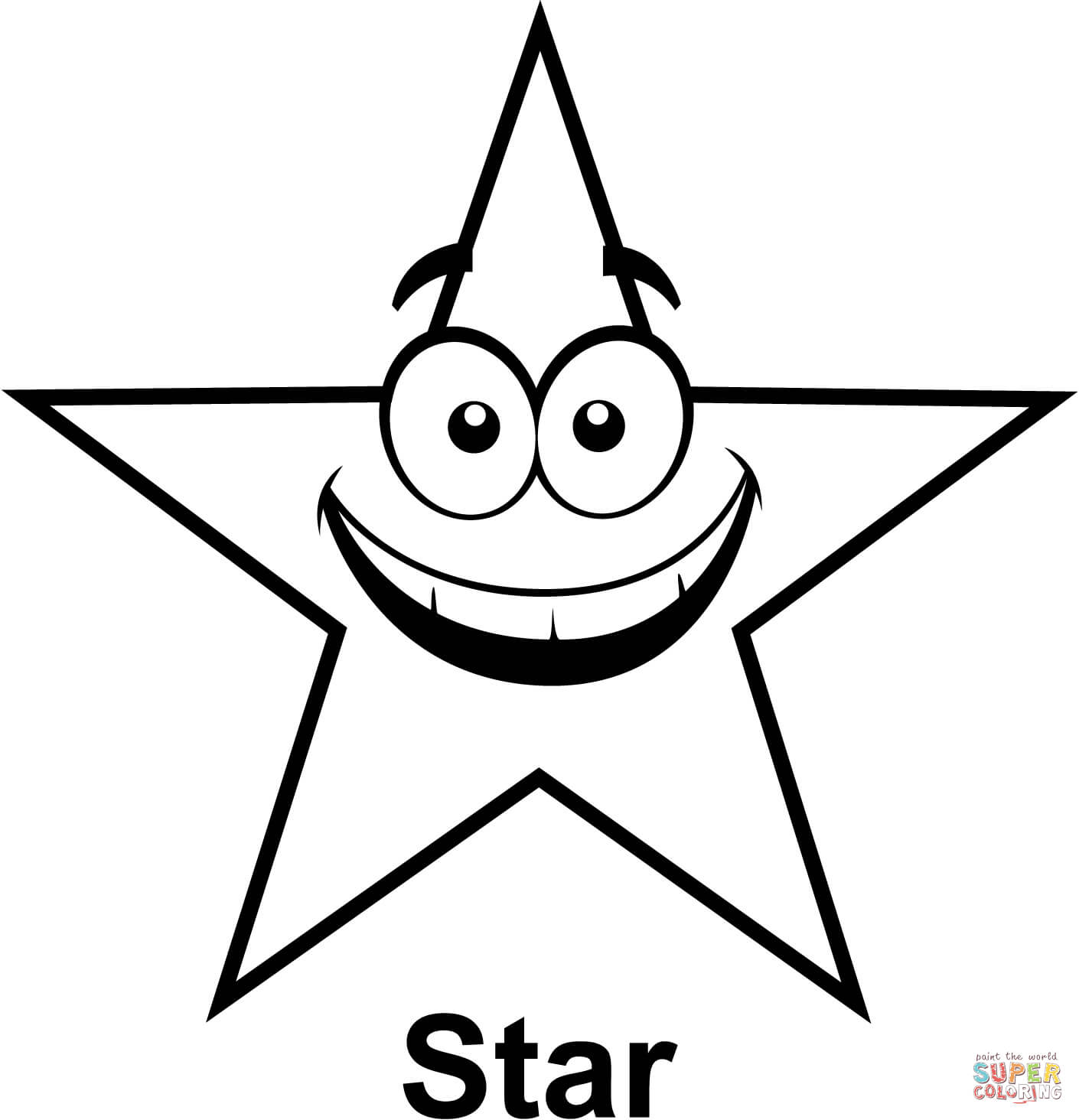 Star With Cartoon Face Coloring Page