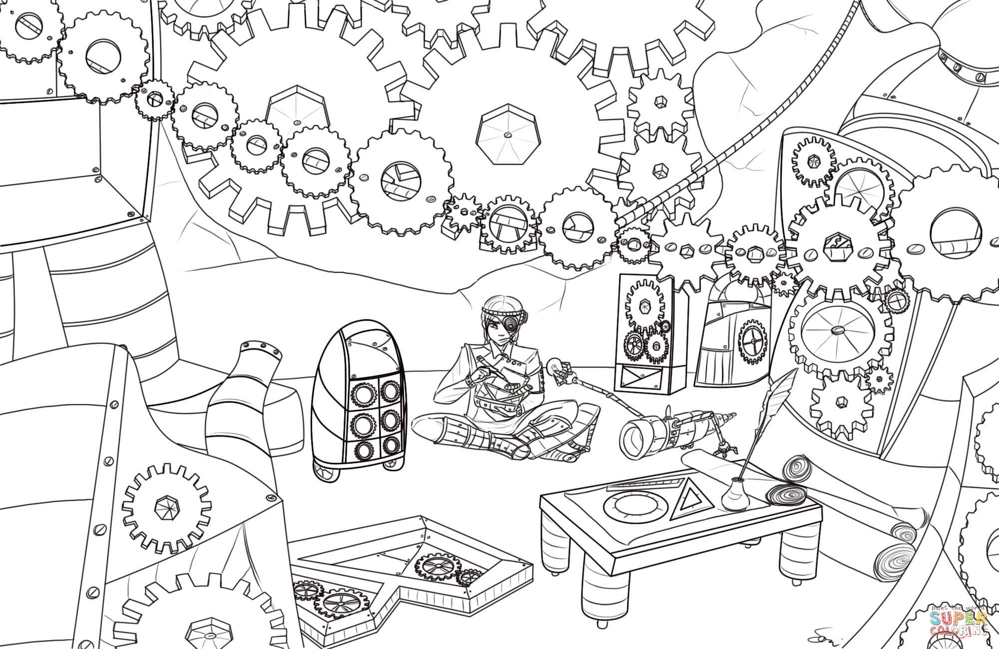 Steampunk Gears Coloring Page