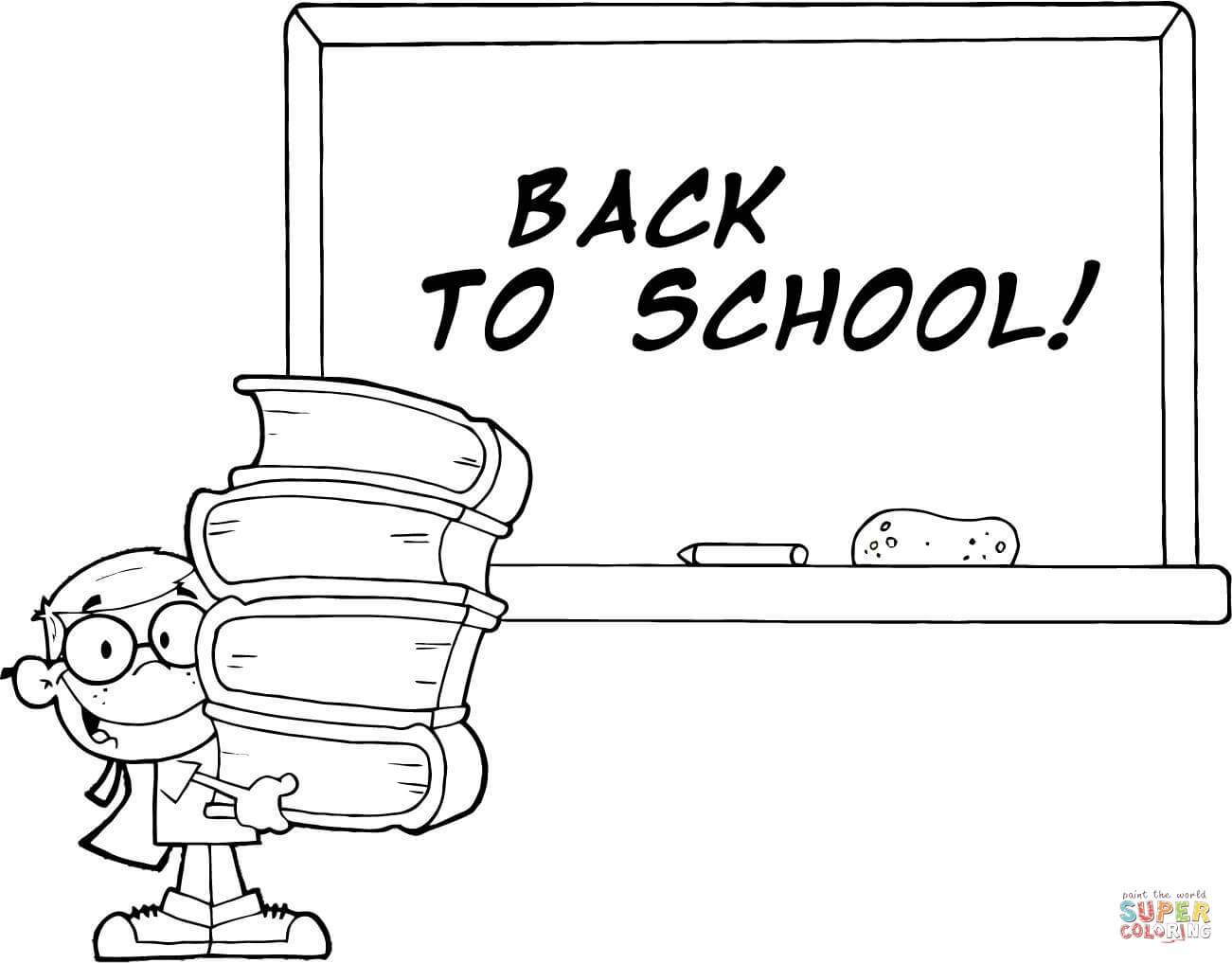 Student With Books In Front Of School Chalk Board With Text Back To School Coloring Page