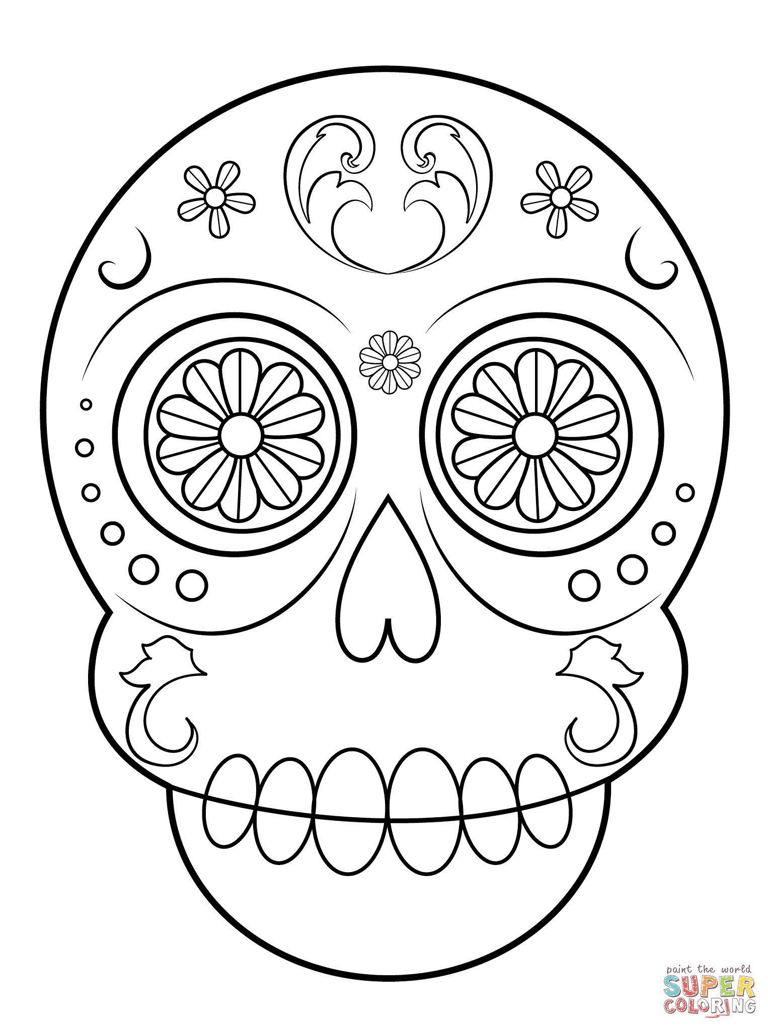 Simple Sugar Skull Coloring Page