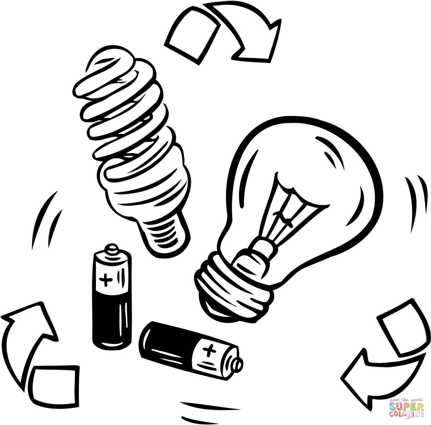 Desenho De Reciclagem De Bateria E Lampada Para Colorir