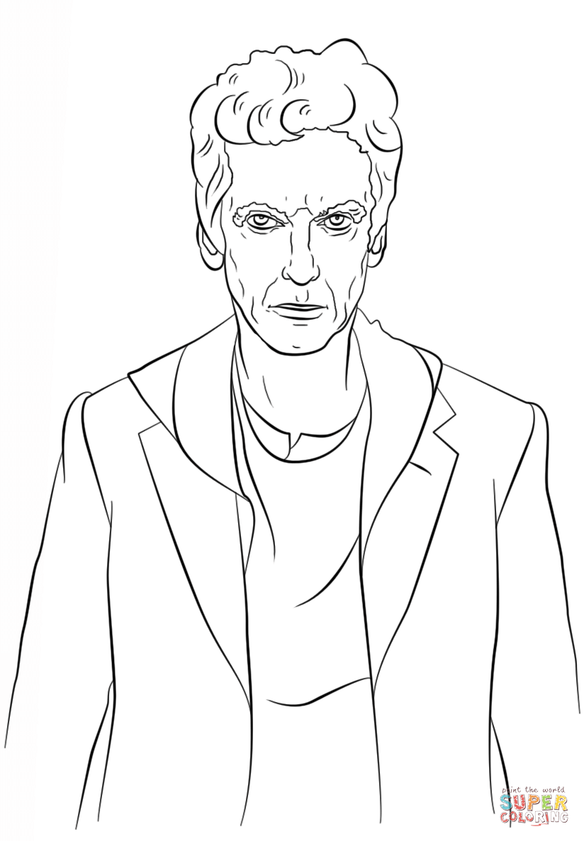 The Twelfth Doctor From Doctor Who Coloring Page Free Printable