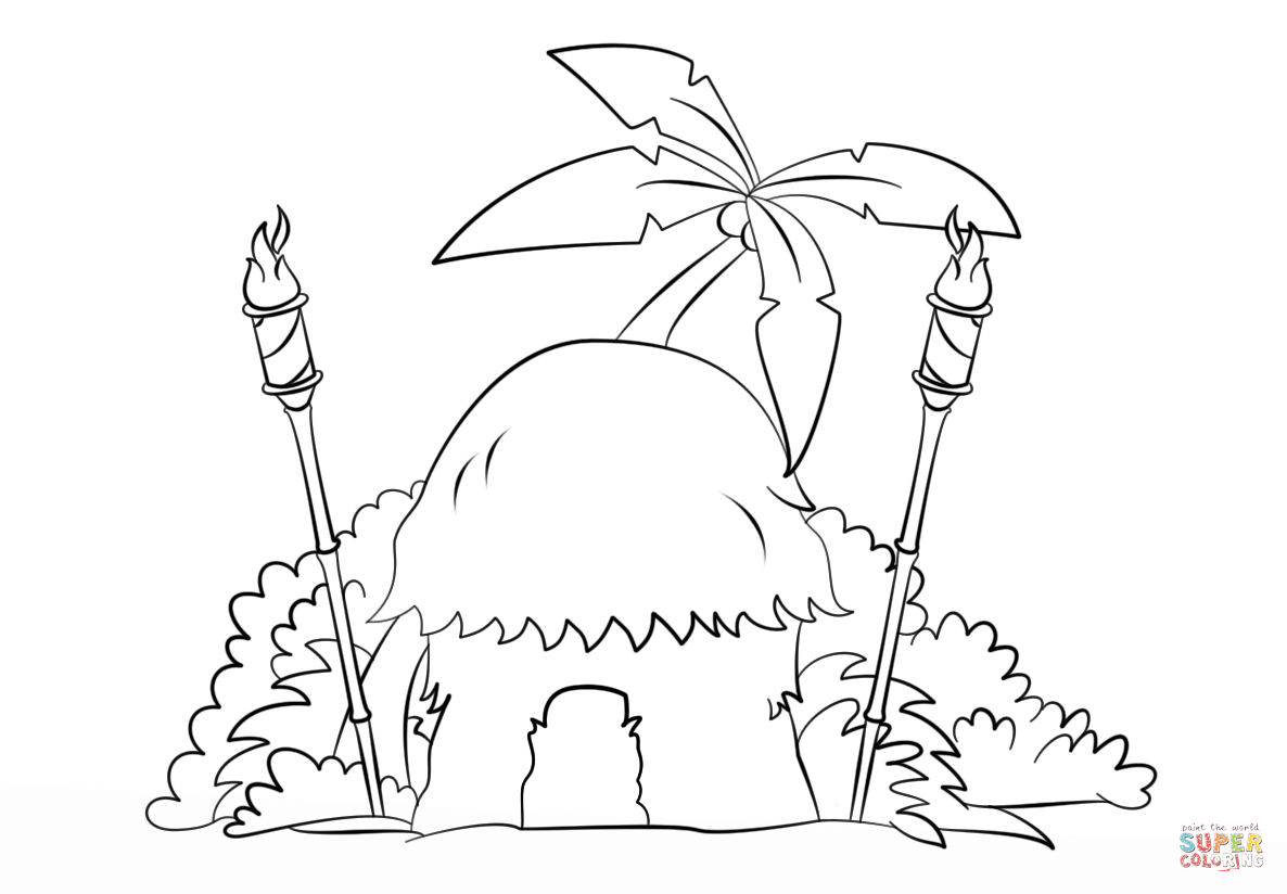 Tiki Hut With Torches Coloring Page