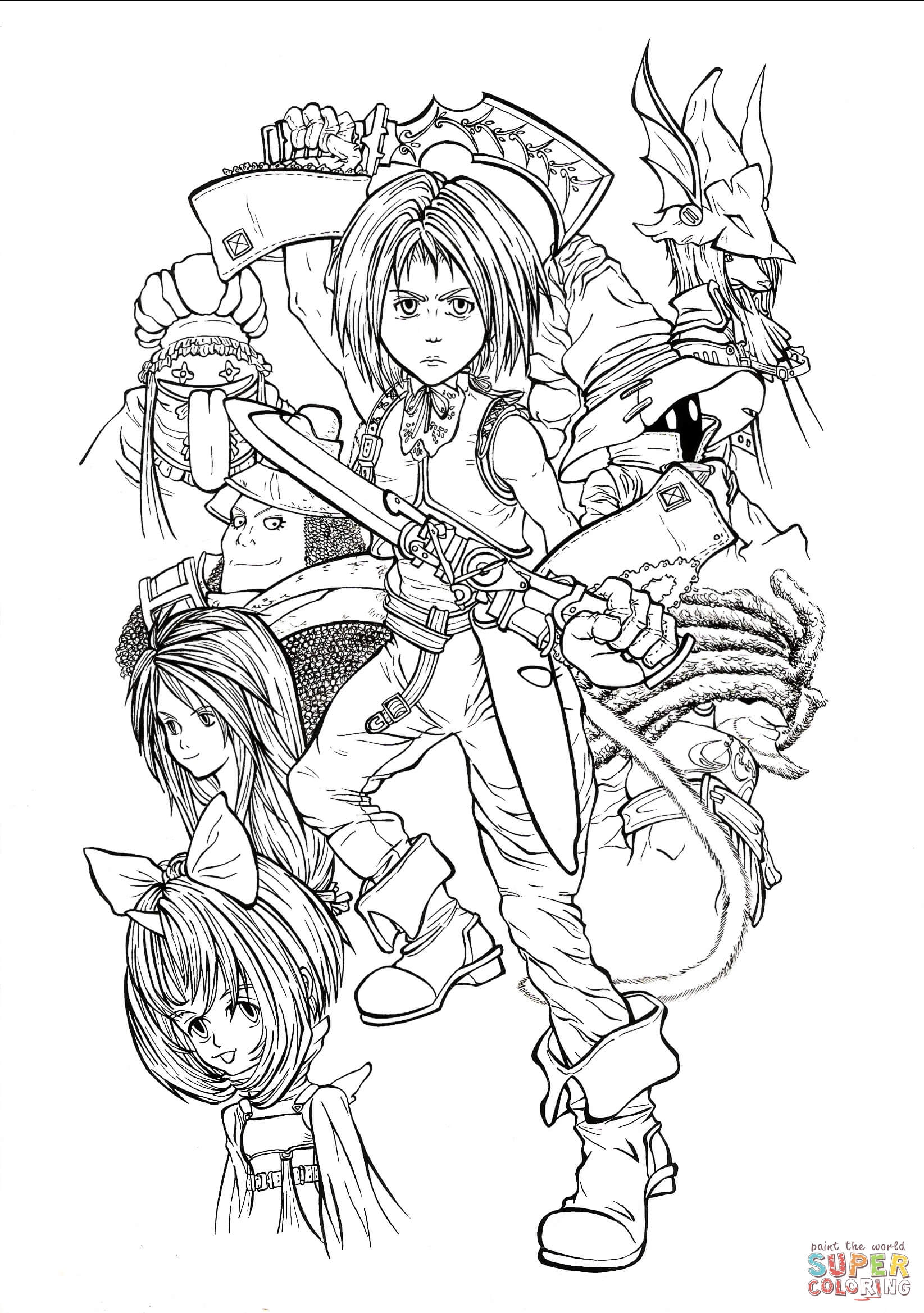 Full Time Playable Characters Of Final Fantasy Ix Coloring
