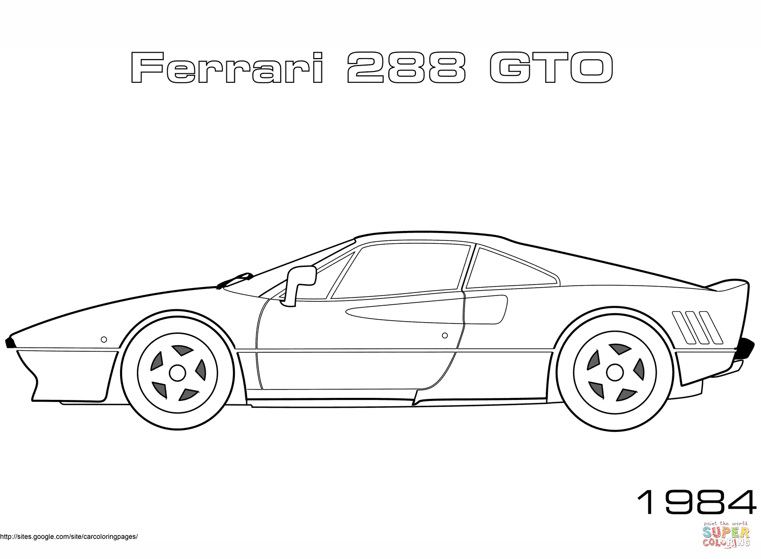 1984 Ferrari 288 Gto Coloring Page Free Printable Coloring Pages