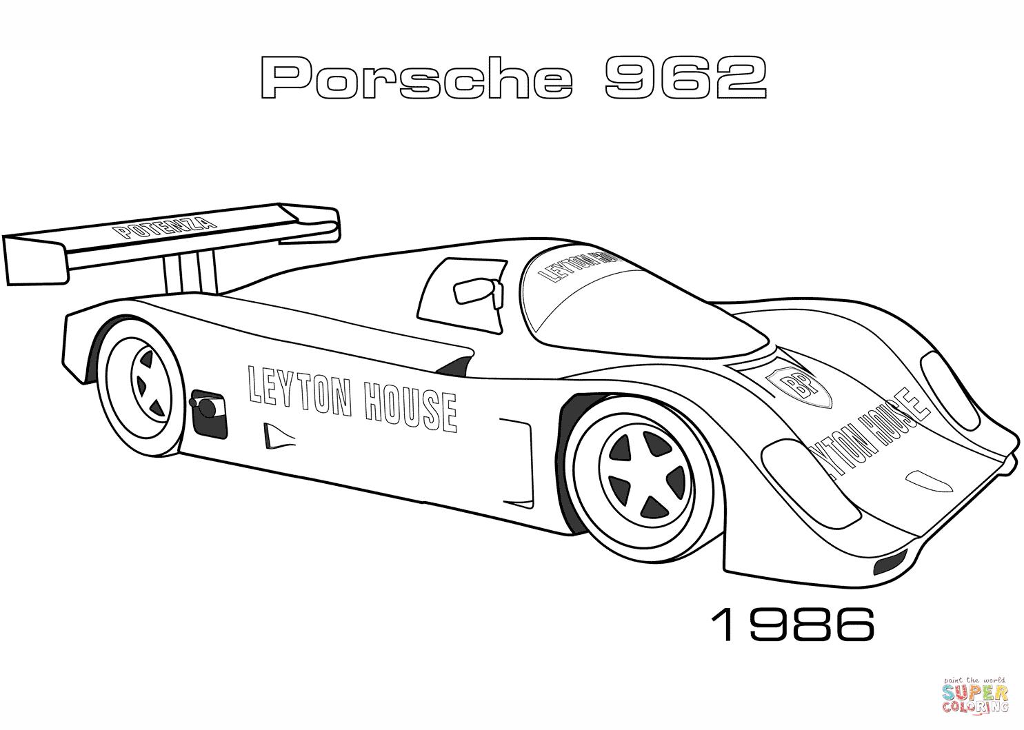 Porsche 962 Coloring Page
