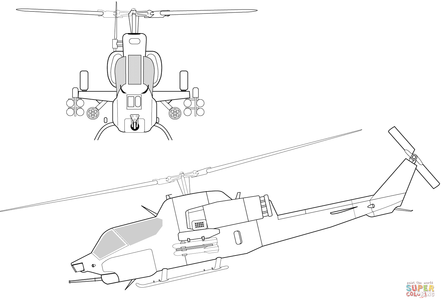 Ah 1w Super Cobra Helicopter Coloring Page