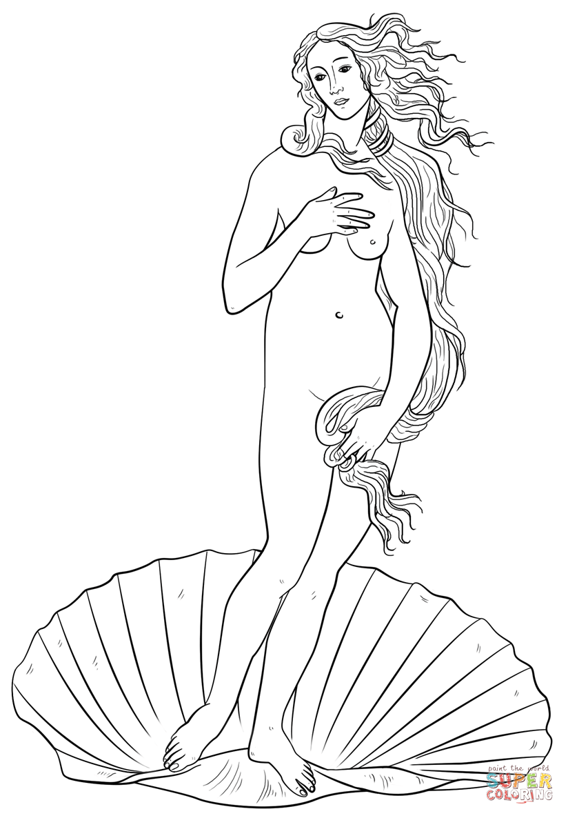 aphrodite from the birth of venus by sandro botticelli coloring